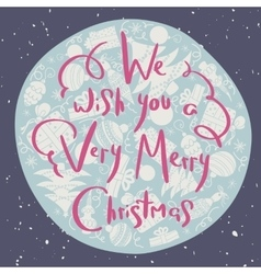 Christmas poster with handwritten pink lettering vector