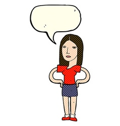Cartoon woman with hands on hips with speech vector