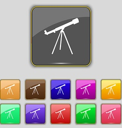 Telescope icon sign set with eleven colored vector
