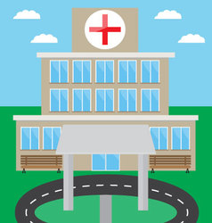 Hospital building design flat vector