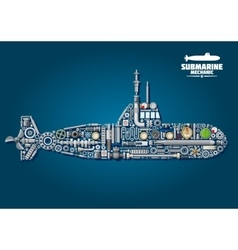 Submarine from parts and weapon vector