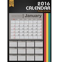 Calendar 2016 design template for planner vector image vector image