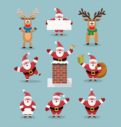 collection of cute cartoons of santa claus and vector image