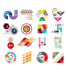 collection of trendy colorful infographic diagram vector image