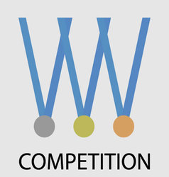 Competition icon medals vector image