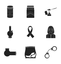 Drugs set icons in black style Big collection of vector image