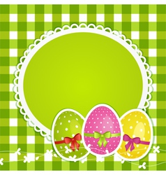 Easter eggs and border on green gingham vector image vector image