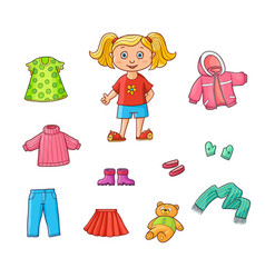 flat cartoon girl wardrobe objects set vector image