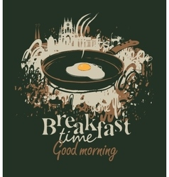 Frying pan and fried eggs vector