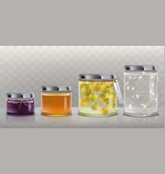 glass jars with food and garland set vector image