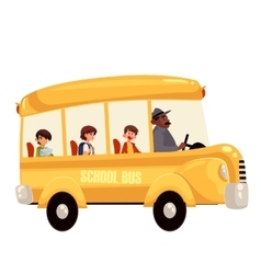 Happy primary students riding school bus vector