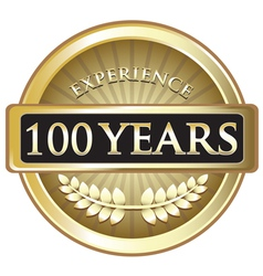 Hundred Years Experience Gold vector image vector image