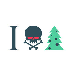 i hate new year christmas tree and skull vector image