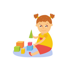little girl playing with wooden blocks vector image vector image