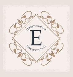 Luxury company e monogram decorative crest vector