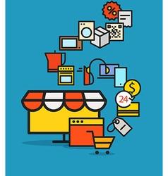 Modern web commerce scheme flat design shopping vector