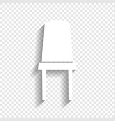 Office chair sign white icon with soft vector