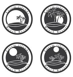 Palm trees and sun beach resort logo design vector image