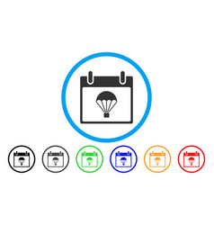 Parachute calendar day rounded icon vector
