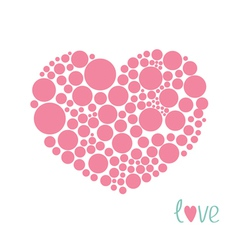 Pink heart made from many round dots love card vector