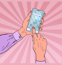 Pop art woman hands using smartphone vector