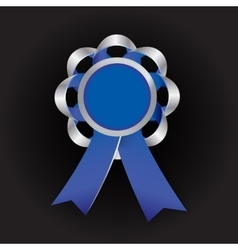 Realistic silver award with reb bow and vector