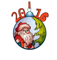 Santa claus in fur-tree toy 2016 merry christmas vector