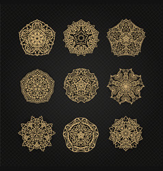 Set of thai art element graphic thai design eps10 vector