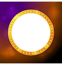 Shining blank circle retro light banner vector image