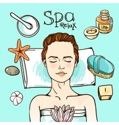 Spa woman waiting spa massage her face vector image