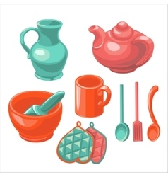 The dishes in the kitchen vector image vector image