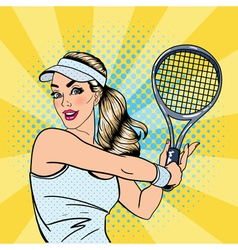 Woman playing tennis sportswoman with racket vector