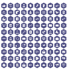 100 interaction icons hexagon purple vector