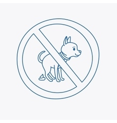 No dog pooping doodle sign vector image