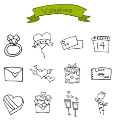 Art of valentine icons vector