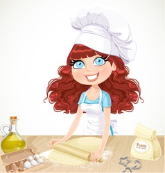 Cute curly hair girl baking cookies vector