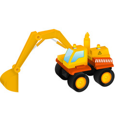 Excavator toy isolated on white vector