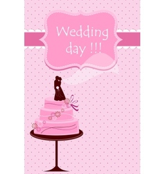 Wedding card with cake vector