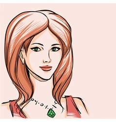 Portrait of woman with red hair vector