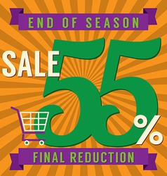 55 percent end of season sale vector