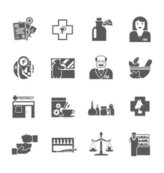 Pharmacicst black icons set vector