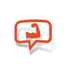 Powerlifting message sticker orange vector