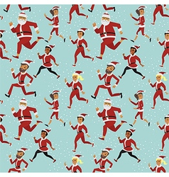 Santa run pattern vector