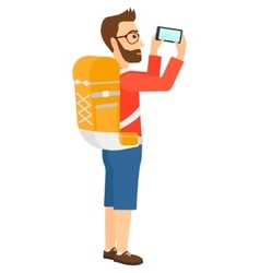 Backpacker taking photo vector