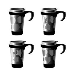 Decorated metal cup vector