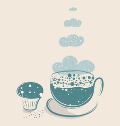 Cloudy coffee with muffin vector