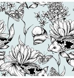 Vintage pond water flowers seamless pattern vector