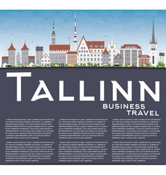 Tallinn Skyline with Gray Buildings Blue Sky vector image
