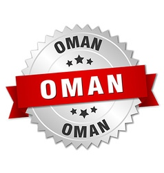 Oman round silver badge with red ribbon vector image