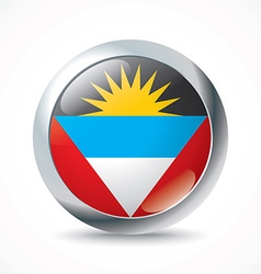 Antigua and Barbuda flag button vector image